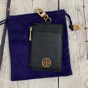 Tory Burch Black Leather Lanyard Card Holder